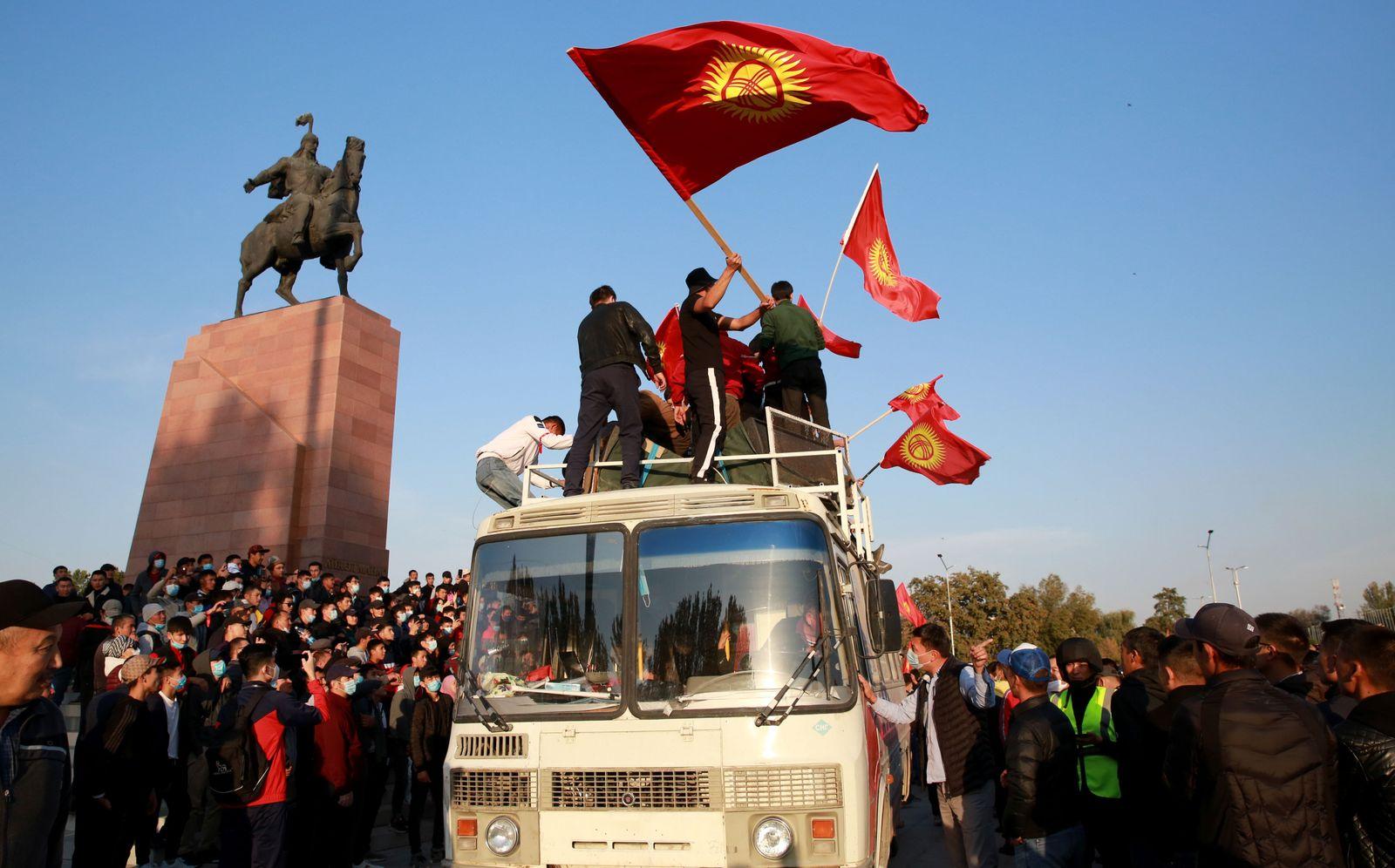Kyrgystan Opposition Demonstration against elections results, Bishkek - 05 Oct 2020