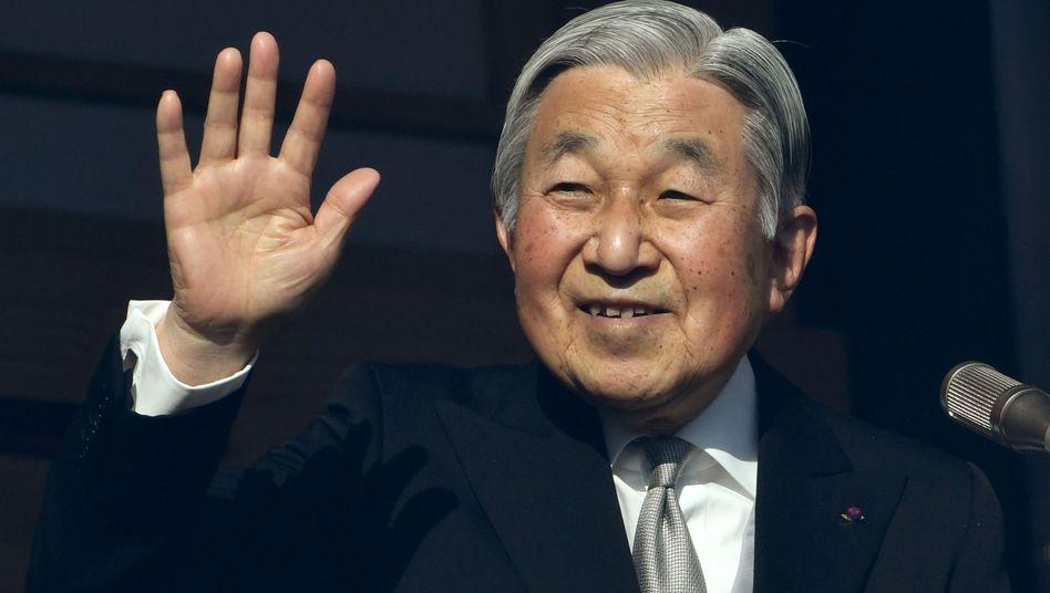 Akihito bei Neujahrsansprache am 2. Januar 2017 in Tokio