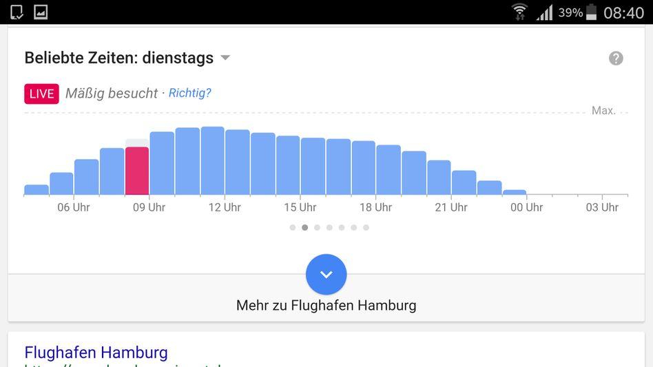 Live-Daten zum Flughafen Hamburg