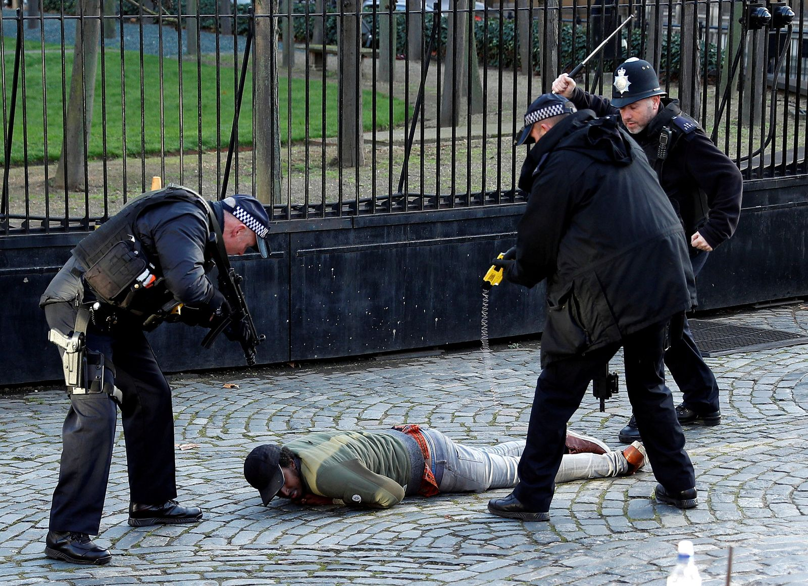 Armed police taser a man inside the grounds of the Houses of Parliament in London