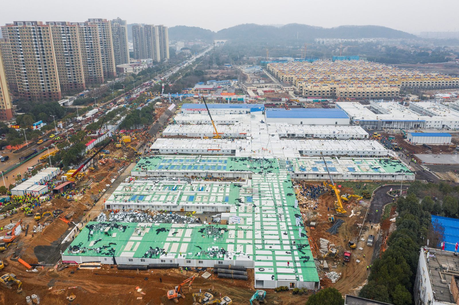 Aerial view shows the newly completed Huoshenshan Hospital, a dedicated hospital built in 8 days to treat coronavirus patients, in Wuhan