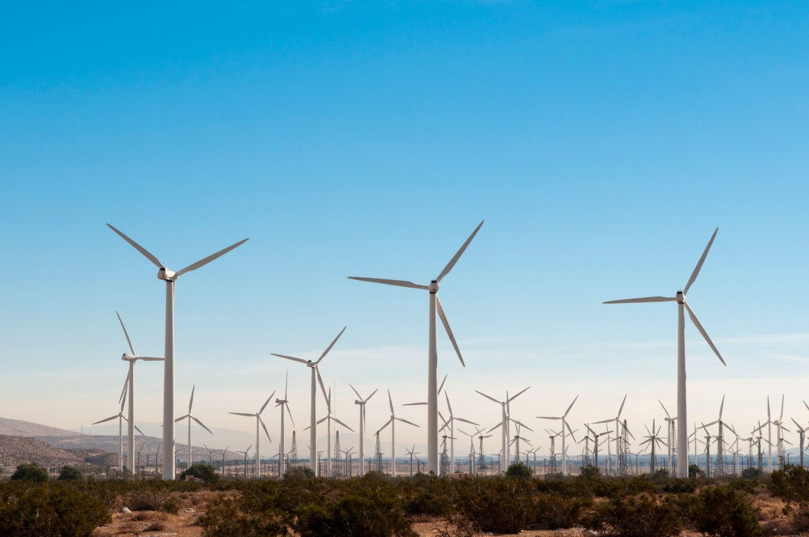 USA, California, Palm Springs, Wind turbines