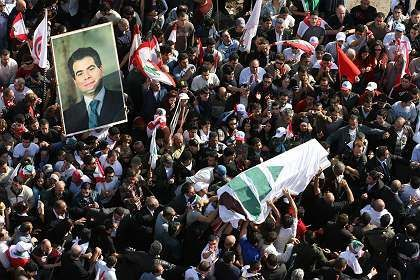 Hundreds of thousands of mourners turned out to pay last respects to murdered anti-Syrian politician Pierre Gemayel.