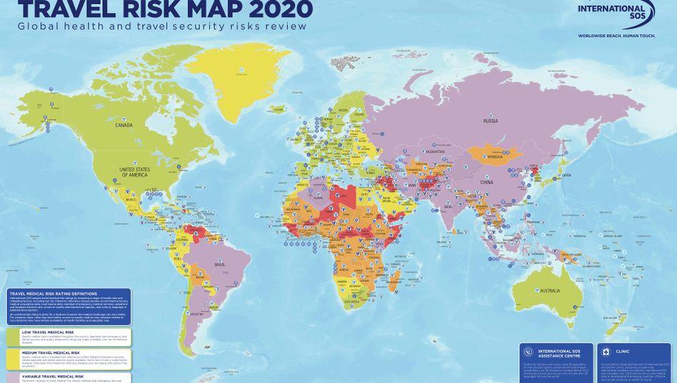 Travel Risk Map: Die Karte zeigt die Einstufung des medizinischen Risikos für Reisende