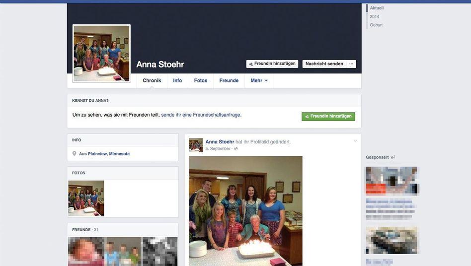 Facebook-Seite von Anna Stoehr: 99 statt 114 Jahre alt