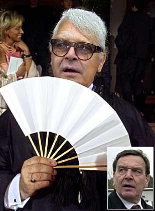 """Der Bundestag als ein einziger Laufsteg? Modezar Gerhard Schröder könnte für ein neues Klima sorgen. Empfehlen Sie ihm das Karl-Lagerfeld-Outfit, wählen Sie bitte im Vote """"Image Nr. 5""""!"""