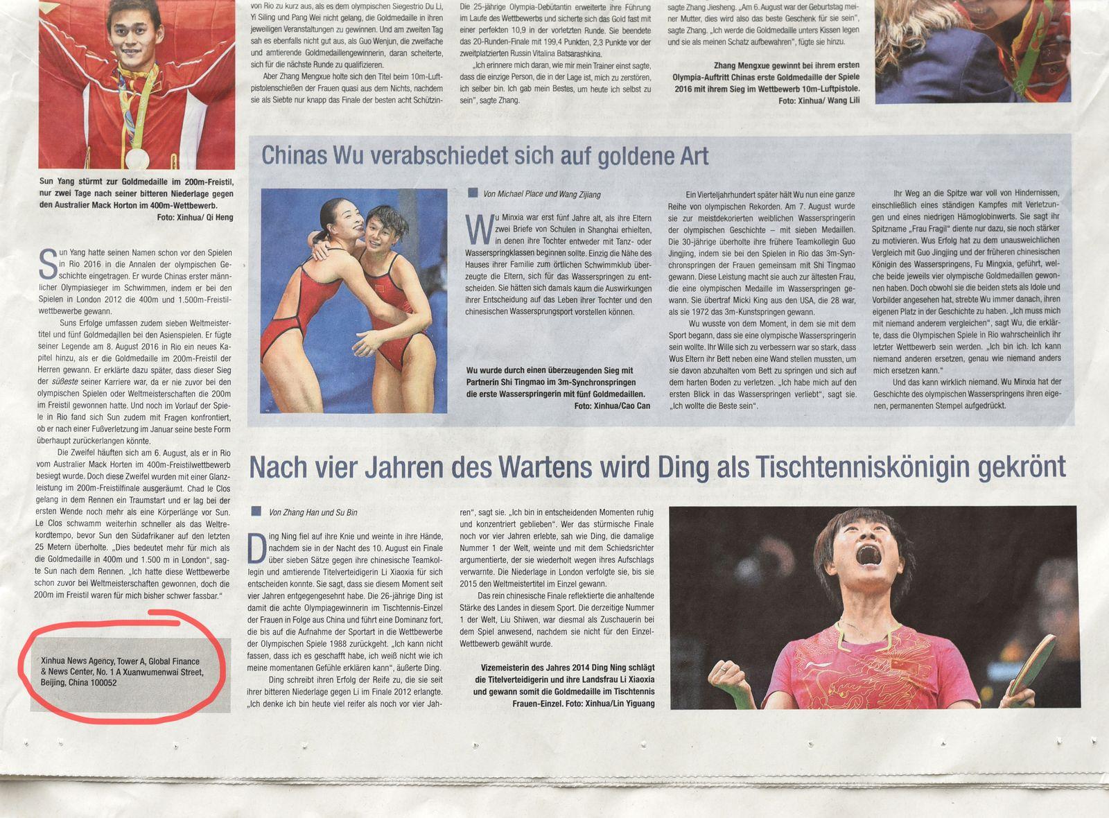 EINMALIGE VERWENDUNG China/ Propaganda/ Süddeutsche Zeitung/ Mo 22.08.2016