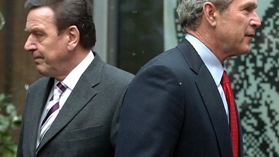"""Kanzler Schröder, Präsident Bush (2005): """"... dann bin ich mit Dir"""""""