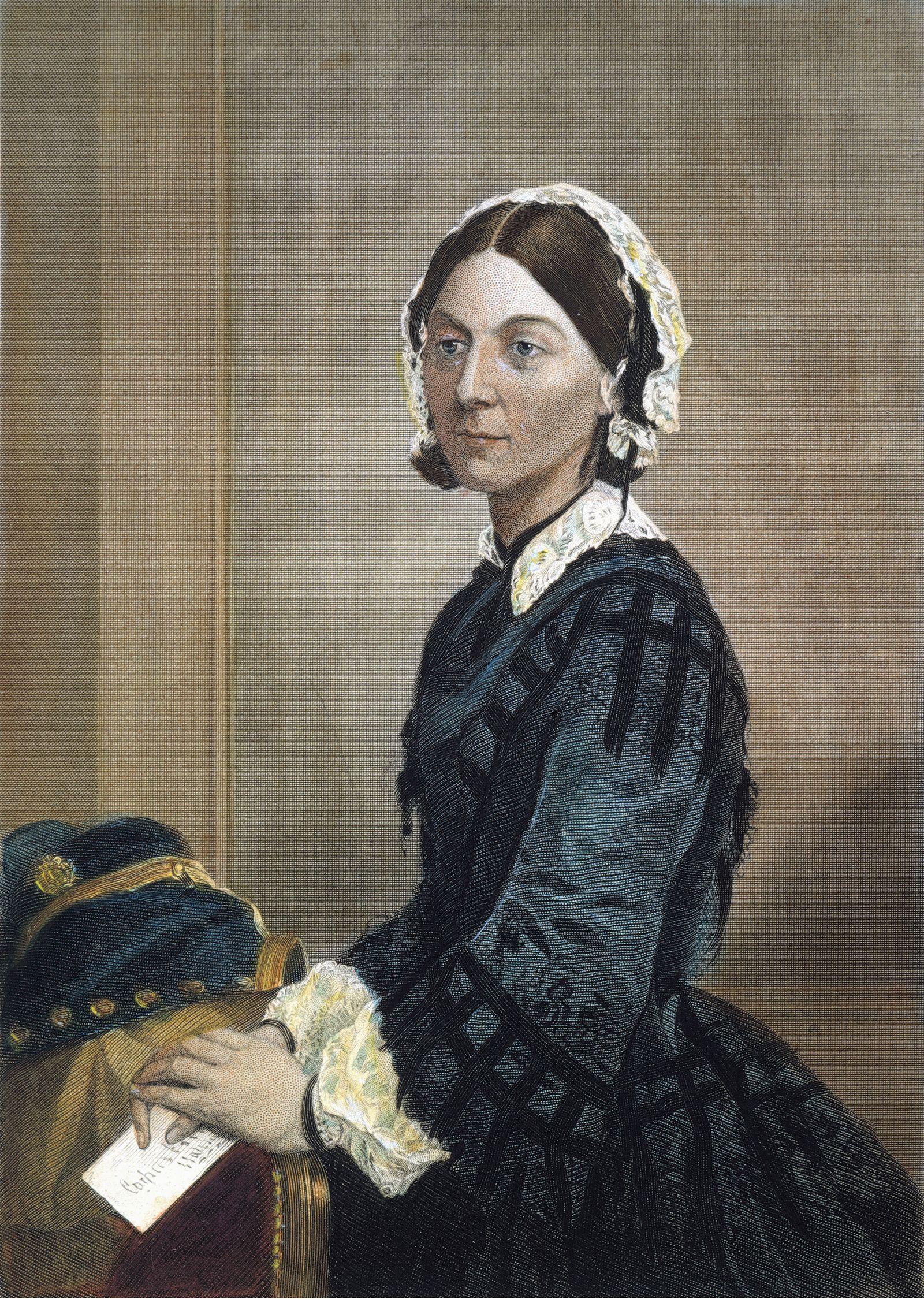 FLORENCE NIGHTINGALE (1820-1910). English nurse, hospital reformer, and philanthropist. Colored engraving, 19th century.
