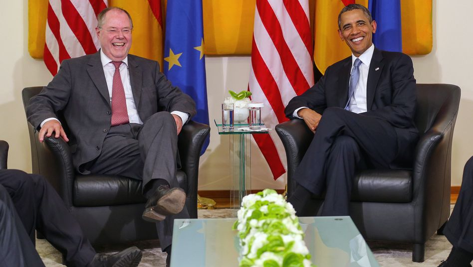 SPD-Kanzlerkandidat Steinbrück, US-Präsident Obama: 40-Minuten-Gespräch