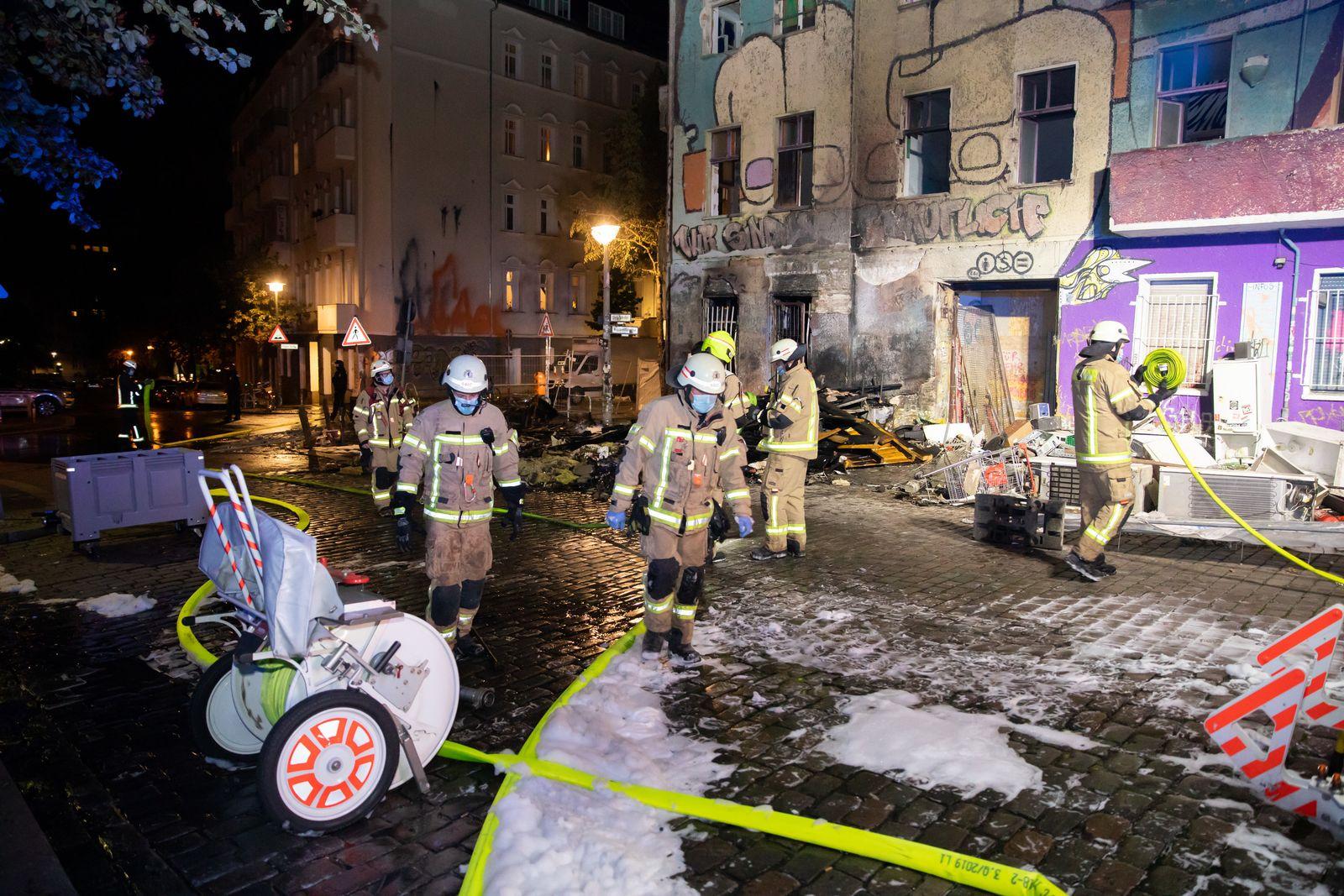 Feuer bei ehemals besetztem Haus «Liebig 34»