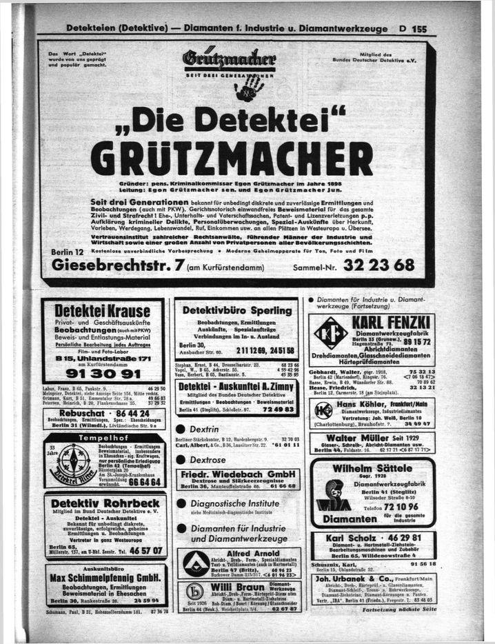 Werbung für Detektei Krause im Branchenverzeichnis 1964/65