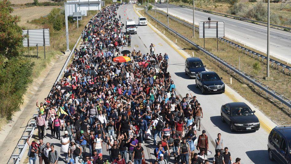 Syrische Flüchtlinge in der Türkei auf dem Weg zur griechischen Grenze (2015)