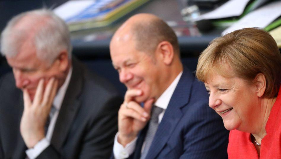 Kanzlerin Angela Merkel, Finanzminister Olaf Scholz und Innenminister Horst Seehofer (v.r.n.l.)