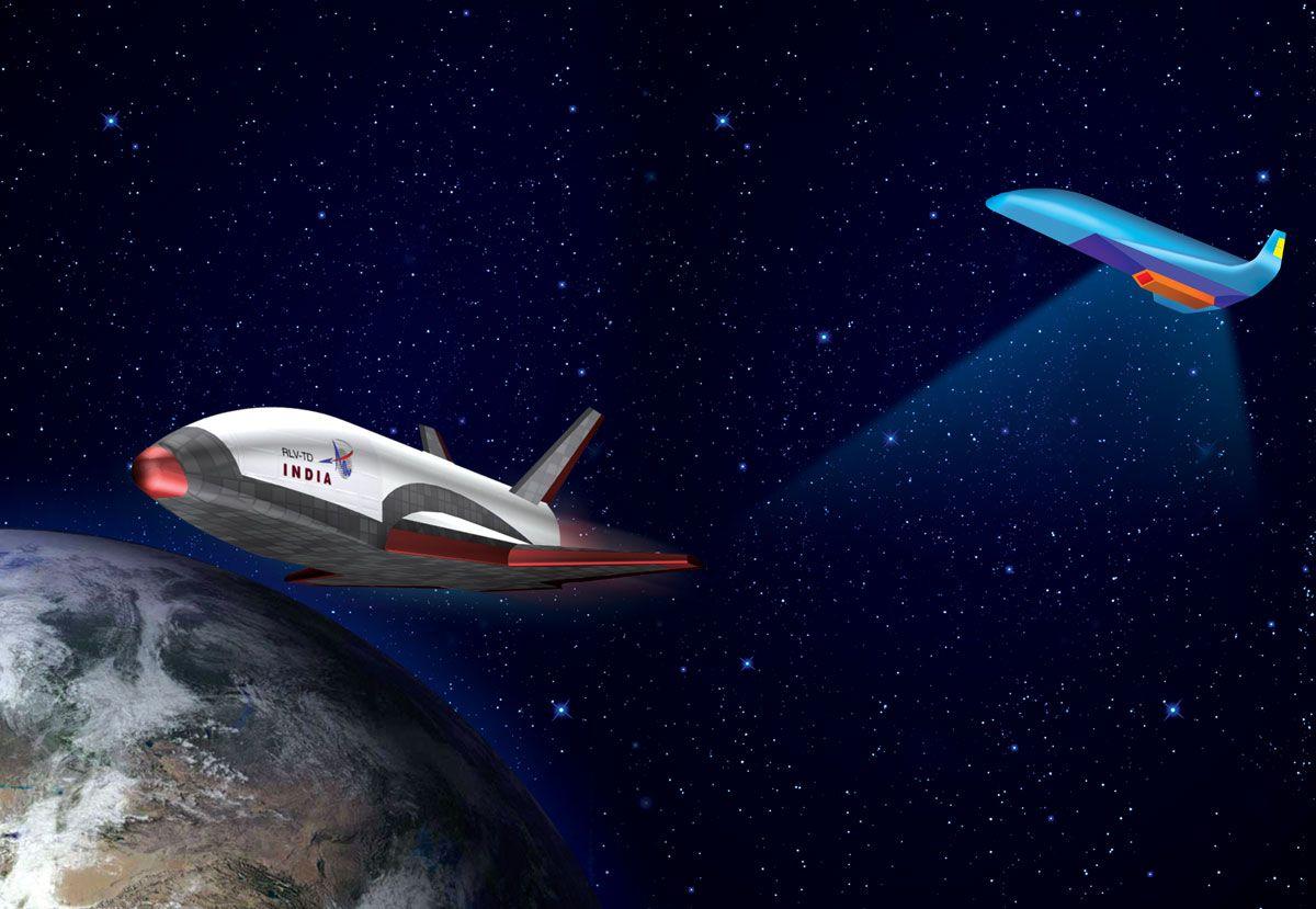 EINMALIGE VERWENDUNG Indien/ Raumfahrt/ ISRO/ wiederverwendbarer Weltraumtransporter