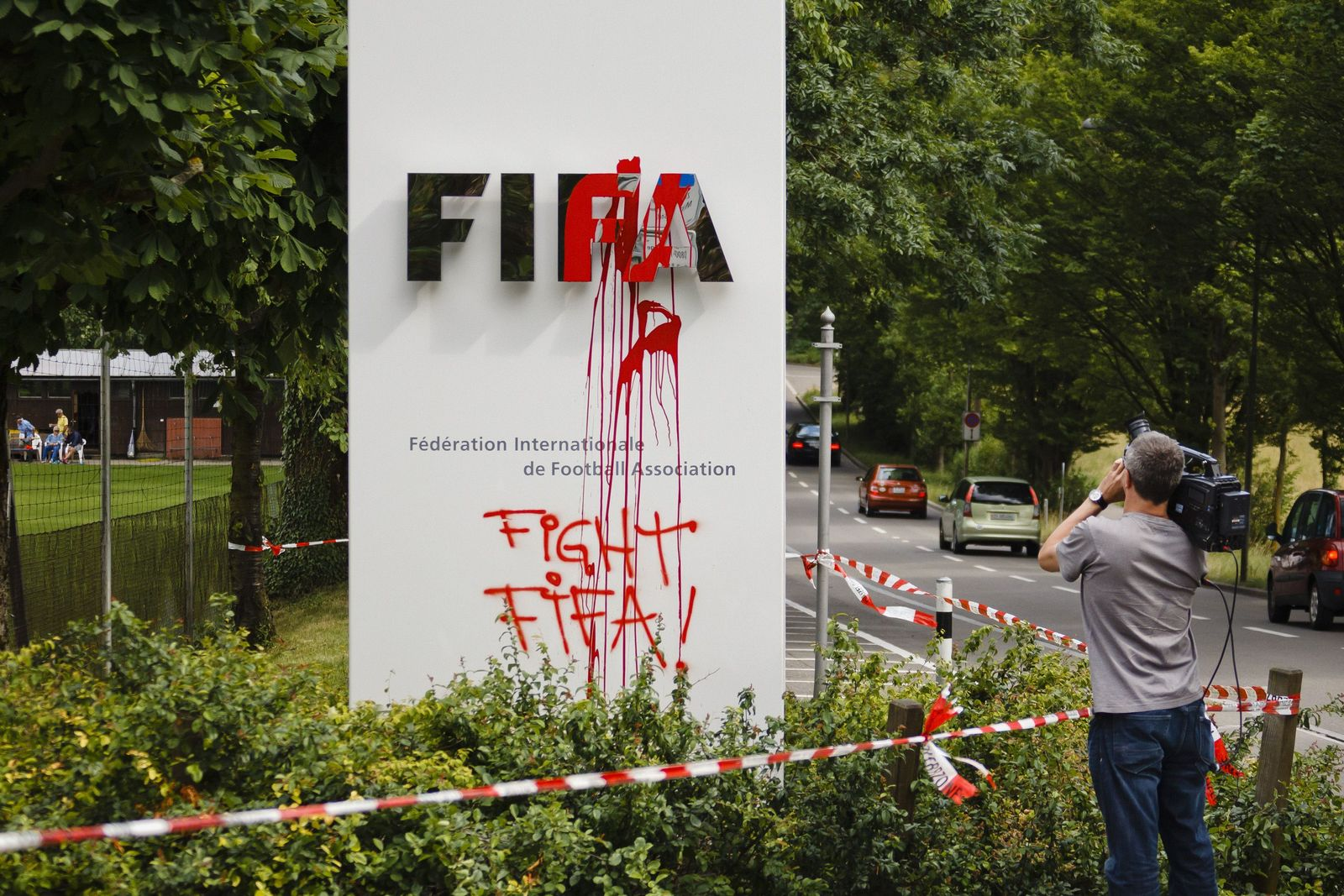 Demonstration vor Fifa-Zentrale