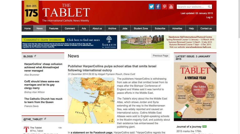 """HarperCollins-Kartenseite (bei """"The Tablet""""): Rücksicht auf """"lokale Präferenzen"""""""