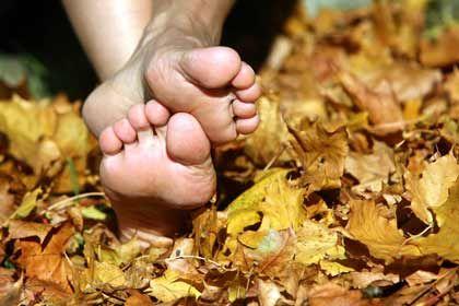 Barfuß im Herbstlaub - da bekommt man schnell kalte Füße