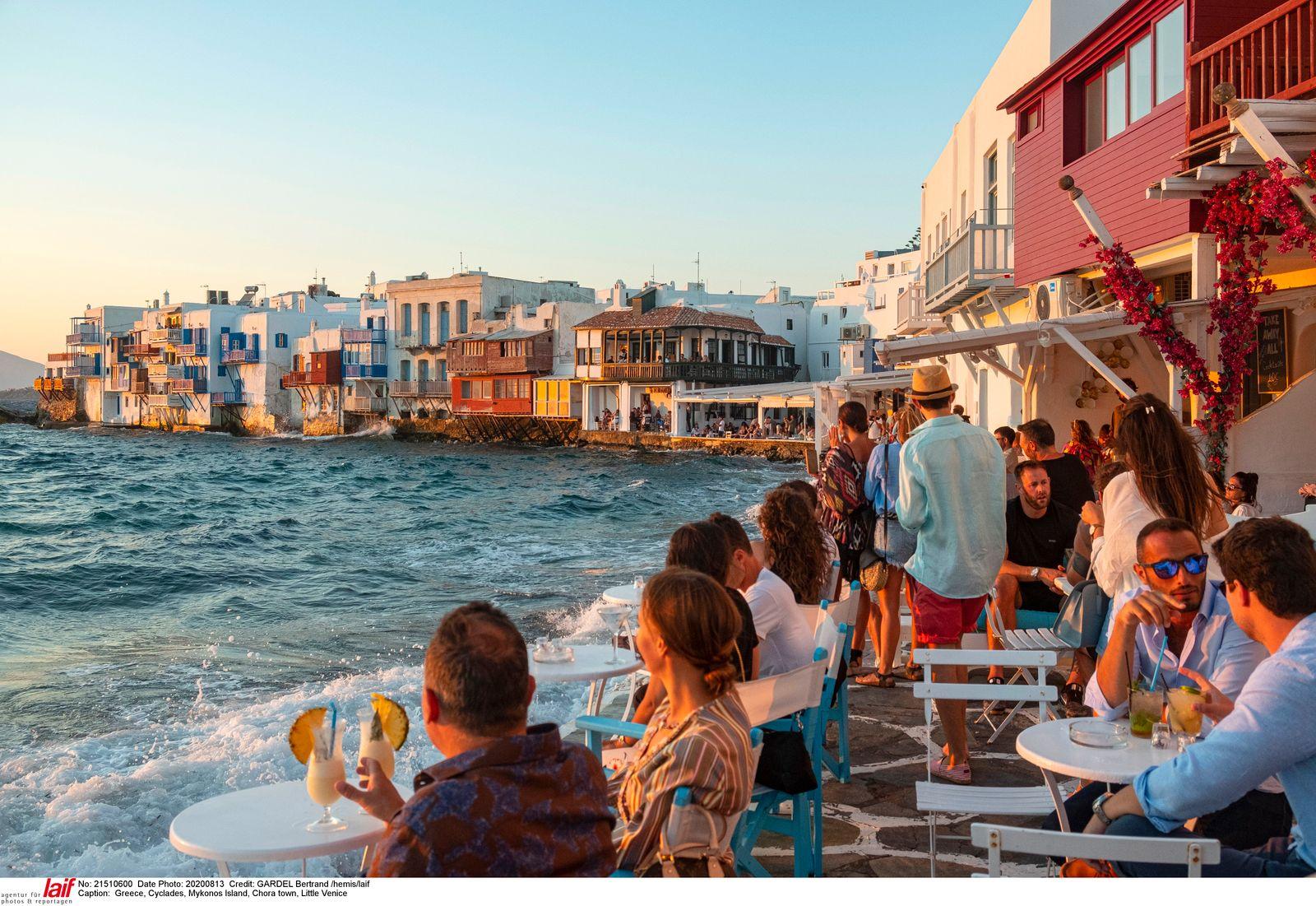 Greece cyclades mykonos island chora town venice