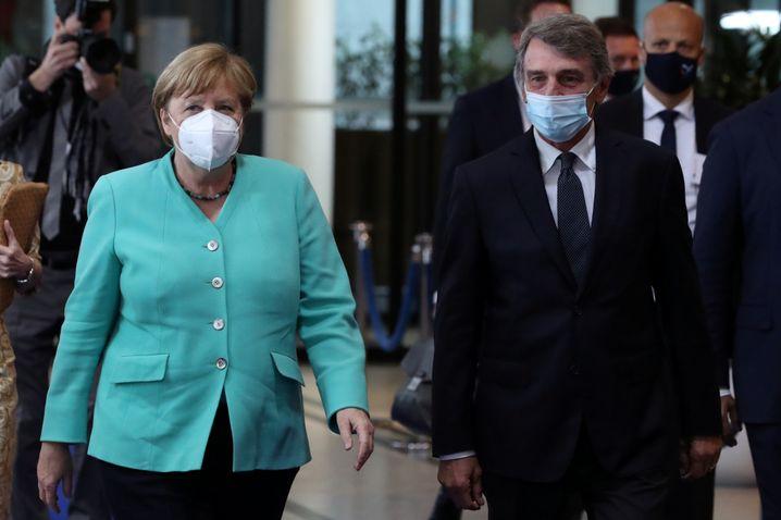 Kanzlerin Merkel, Parlamentspräsident Sassoli