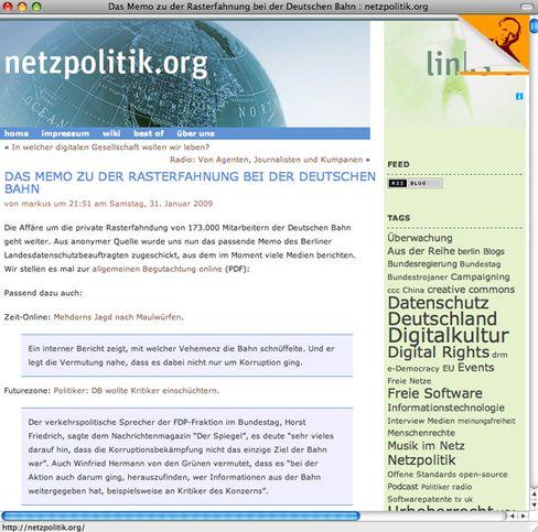 """Blogeintrag bei """"Netzpoolitik.org"""": Schreiben von den Juristen der Bahn"""