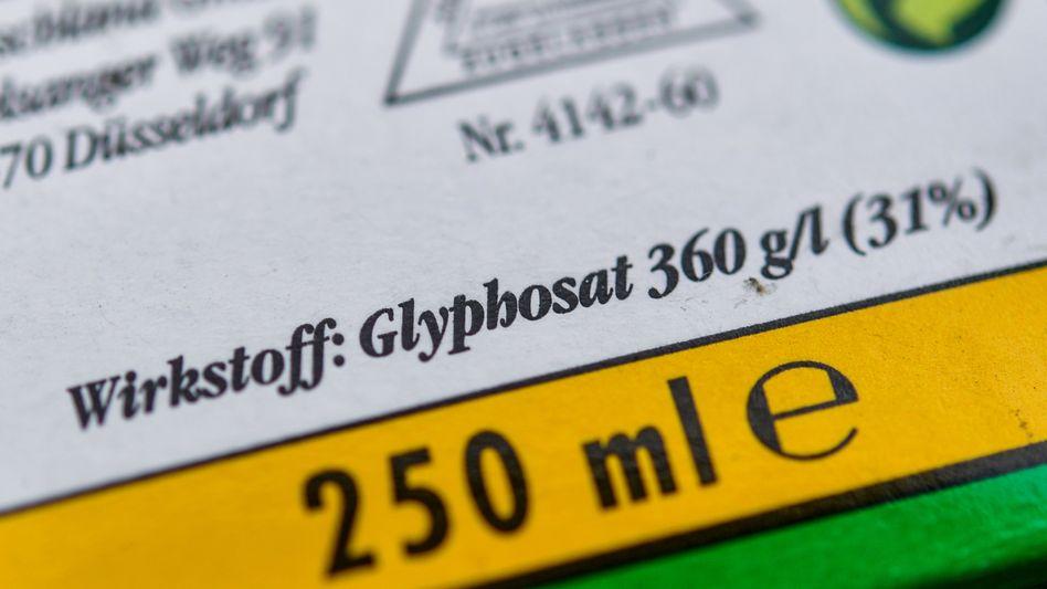 Verpackung eines Unkrautvernichtungsmittels, das Glyphosat enthält