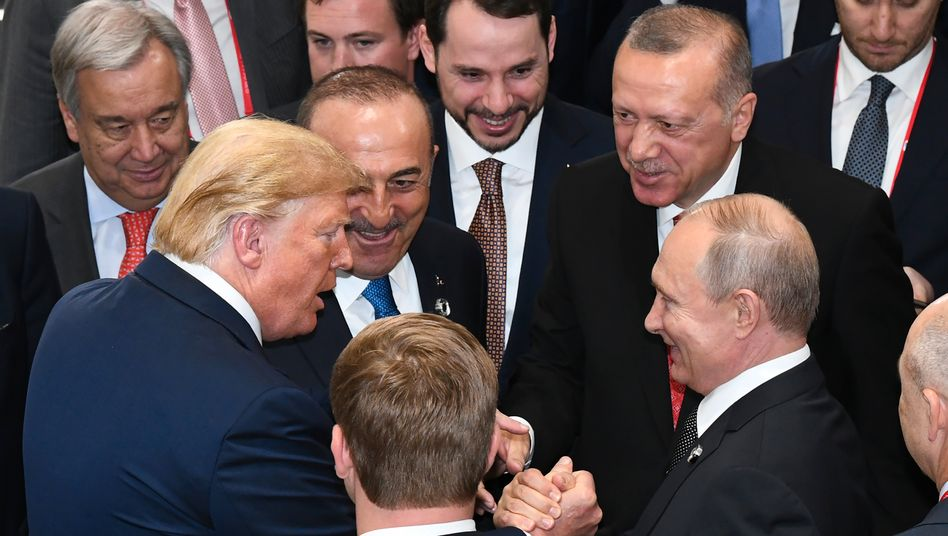 Autoritäre Politiker Trump, Putin, Erdogan beim G20-Gipfel in Osaka (Juni 2019)