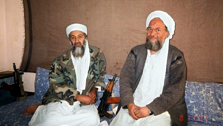 Al-Qaida leaders old and new: Osama bin Laden (left) with Ayman al-Zawahiri.