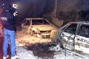 Ausgebrannte Autowracks im Tauerntunnel