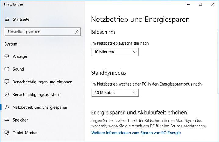 Windows-Rechner haben üblicherweise ab Werk sowie nach einer Neuinstallation sinnvolle Einstellungen für einen sparsamen Betrieb