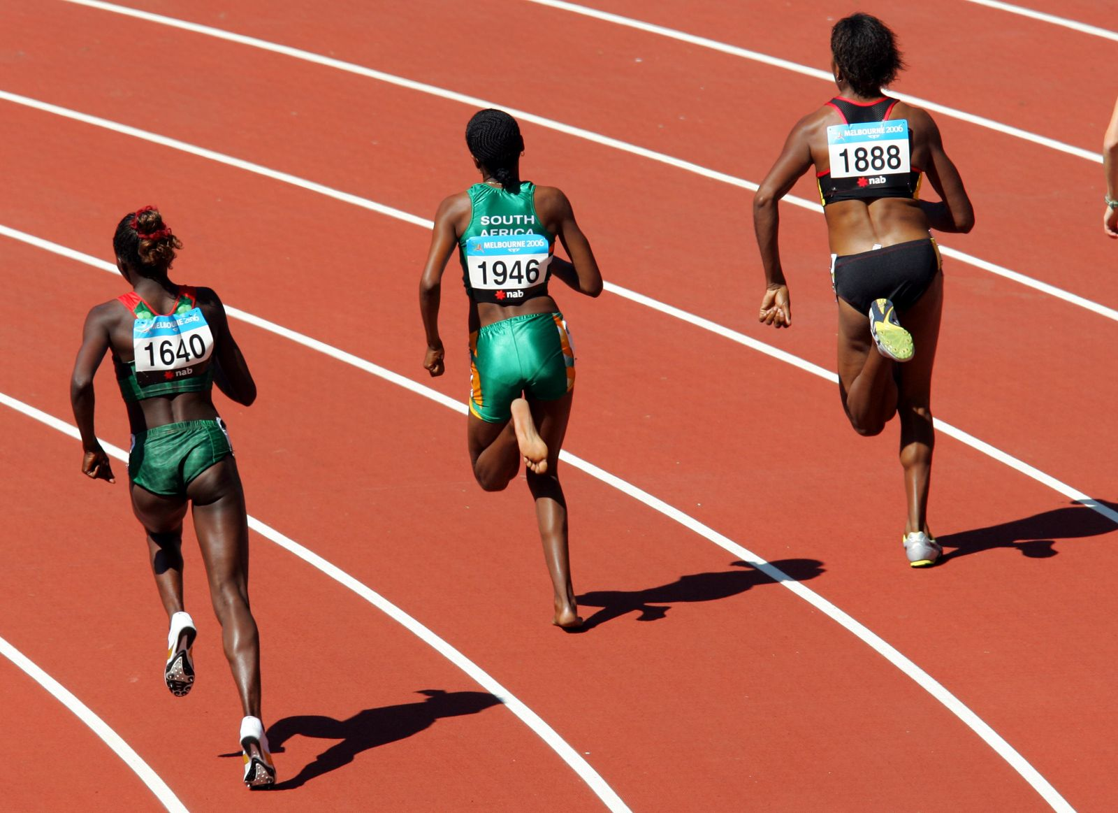 Commonwealth Games 2006. South Africa's Lebogang Phalula, centre, competed in ba