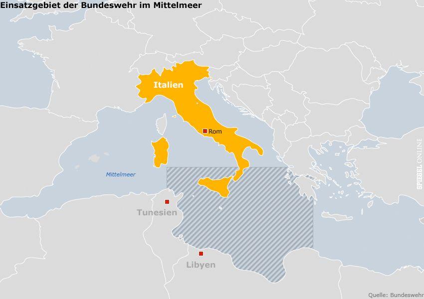GRAFIK KARTE - Einsatz der Bundeswehr im Mittelmeer