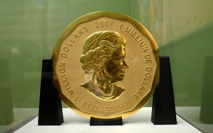 "Goldmünze ""Big Maple Leaf"" (2010 im Bode-Museum)"