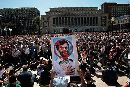 Iranian President Mahmoud Ahmadinejad didn't exactly get a friendly reception at Columbia University on Monday.
