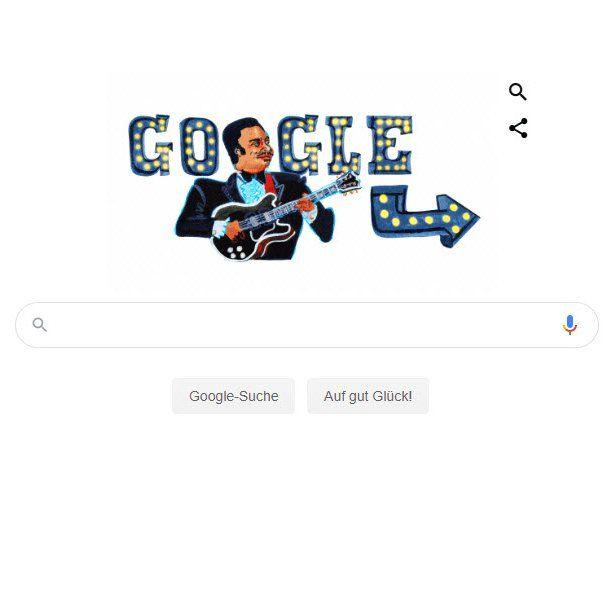 Screenshot der Google-Startseite: Hommage an B.B- King