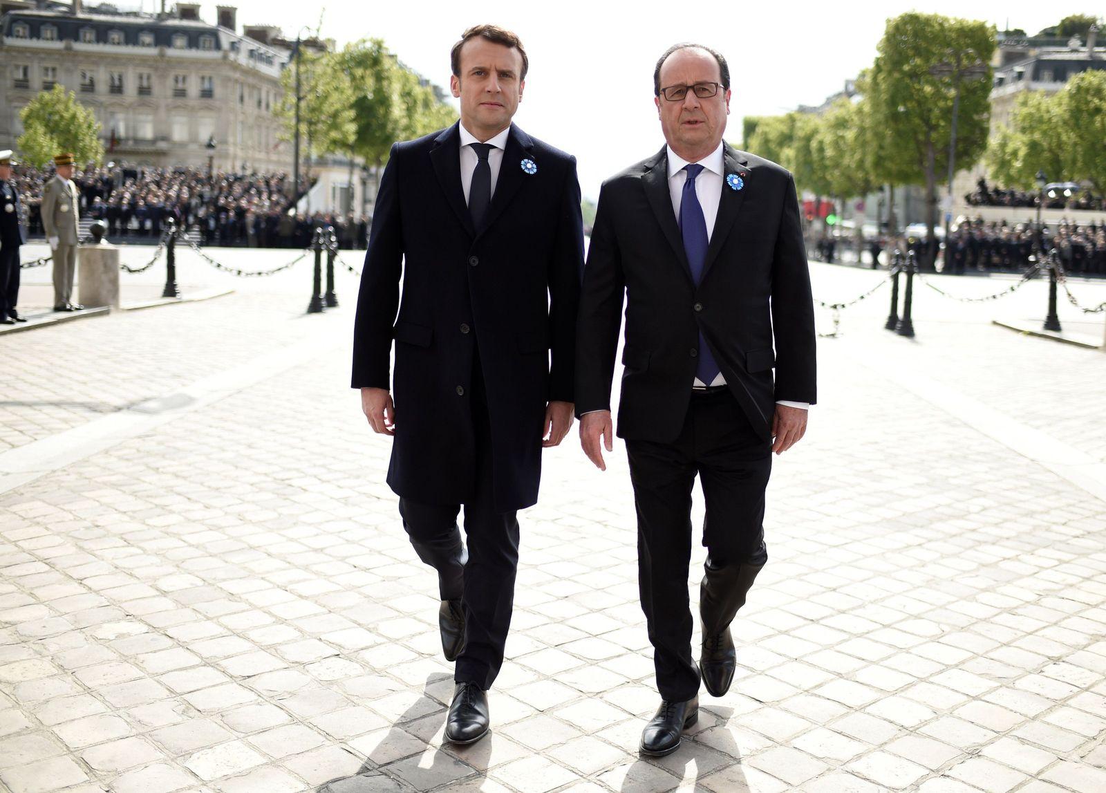 EINMALIGE VERWENDUNG Emmanuel Macron und Francois Hollande