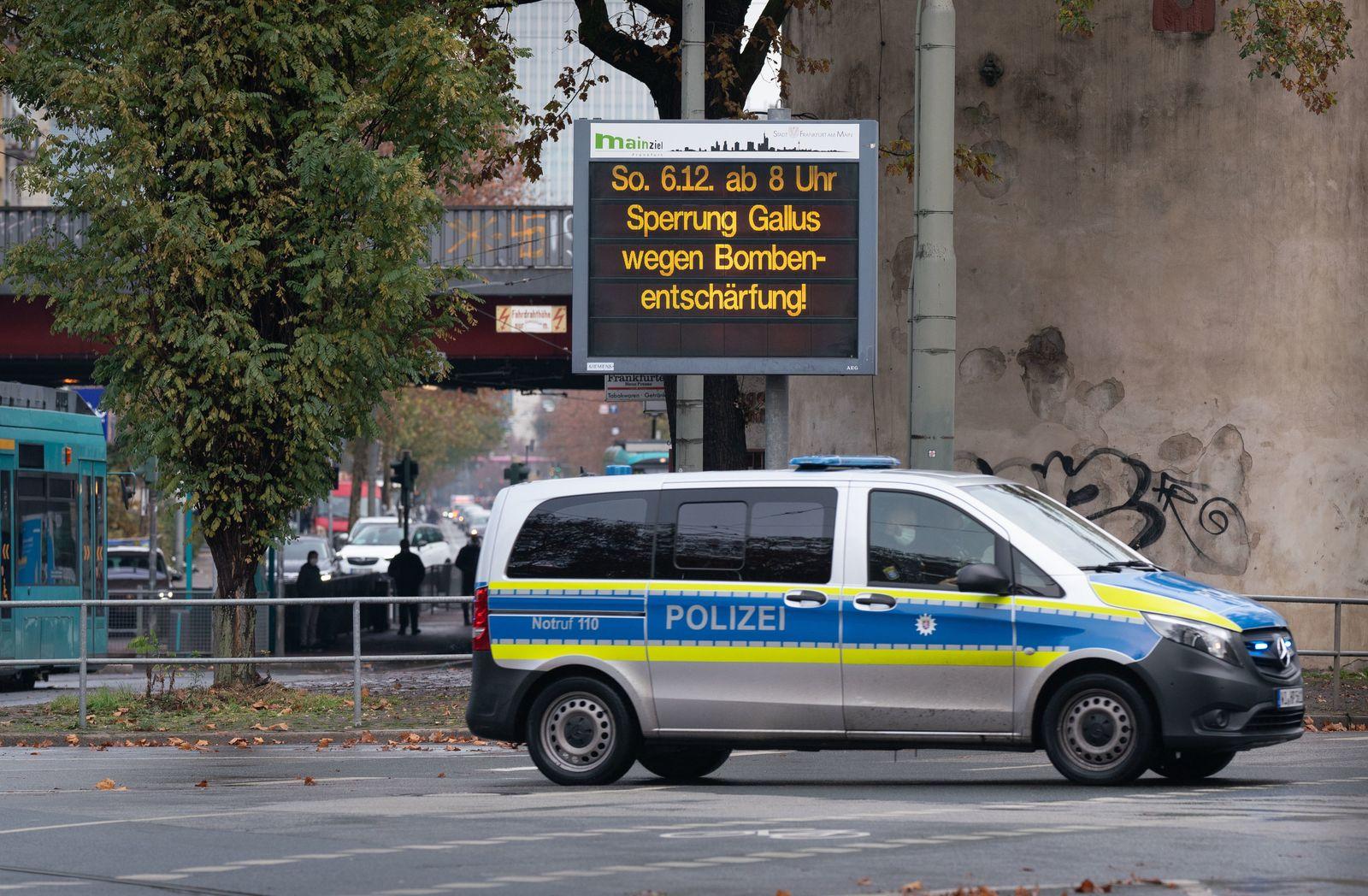 Vor Bombenentschärfung im Frankfurter Gallusviertel