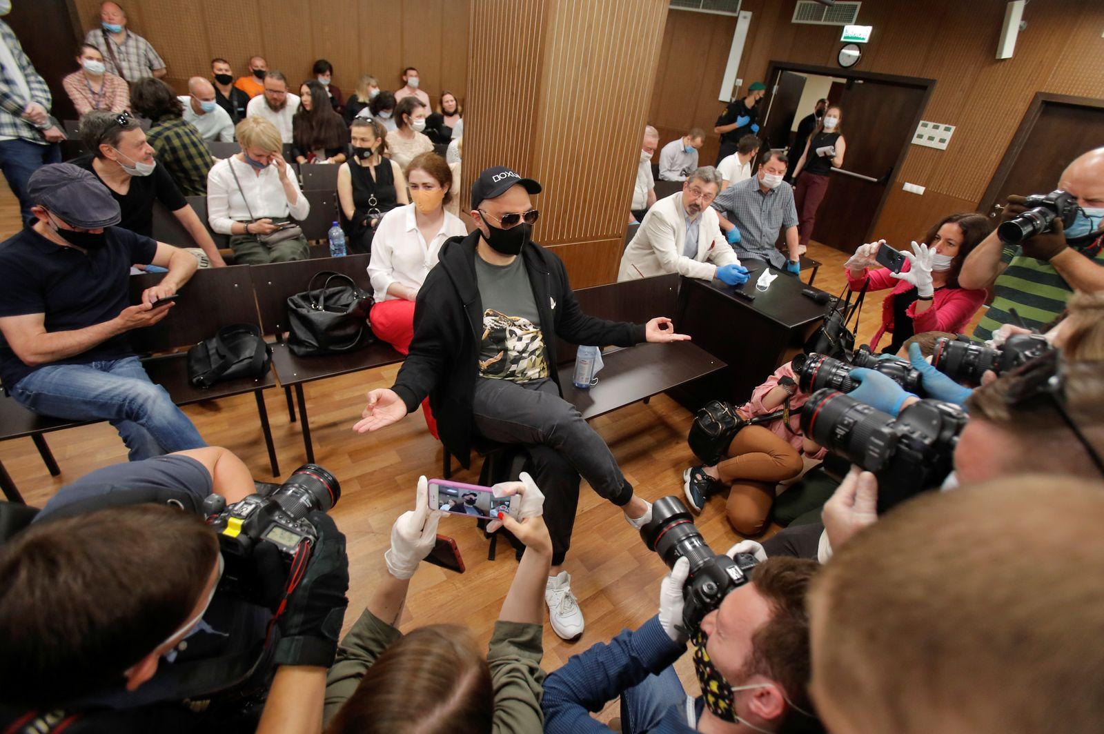 Russian theatre director Serebrennikov attends a court hearing in Moscow