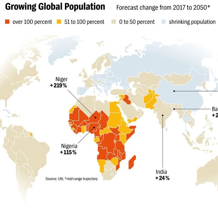 Graphic: Projected population growth in select countries.