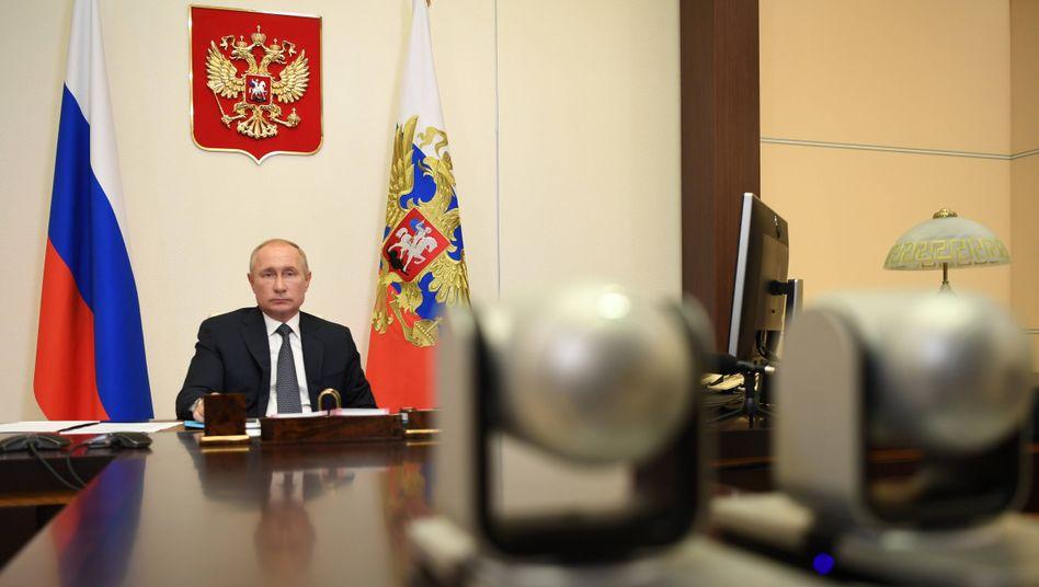 Russlands Präsident WladimirPutin während einer Videokonferenz am 11. August