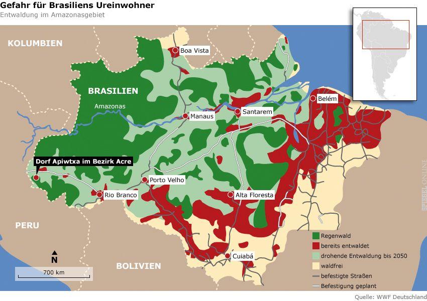 Grafik Karte Dorf Apiwtxa im Bezirk Acre Brasilien