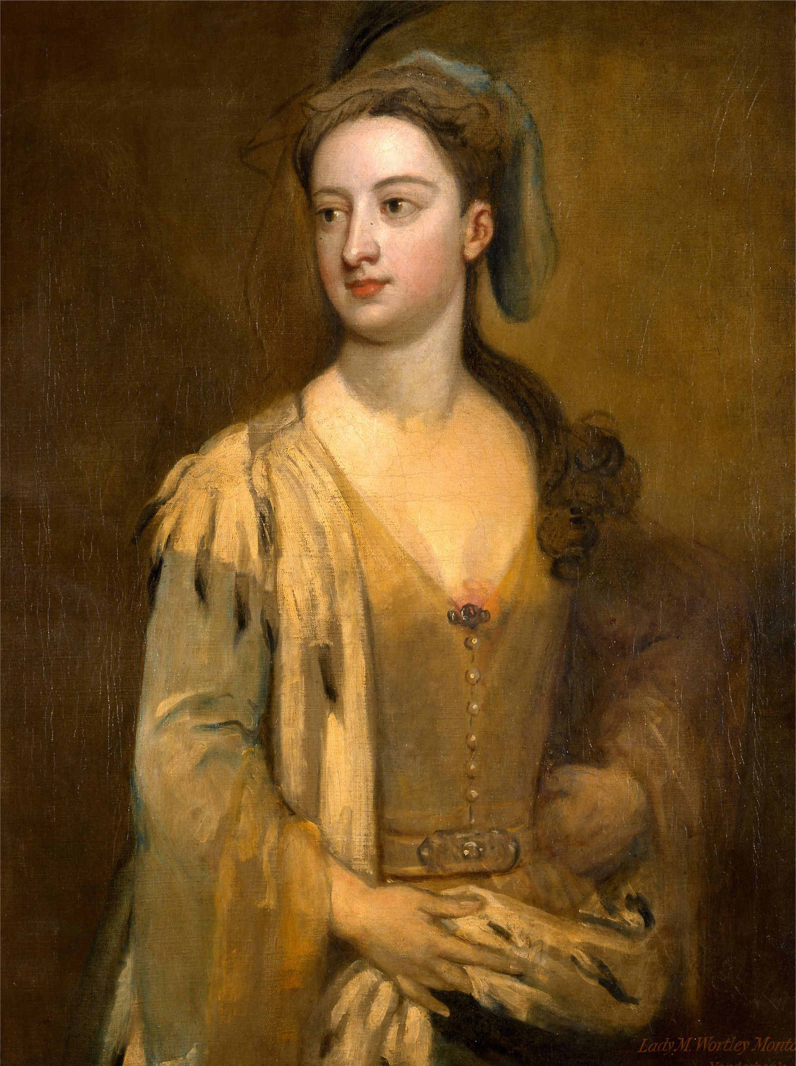 A Woman Called Lady Mary Wortley Montagu Inscribed in red ocher paint lower right Lady M Wortley