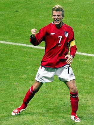 David Beckham nach erfolgreichem Schuss