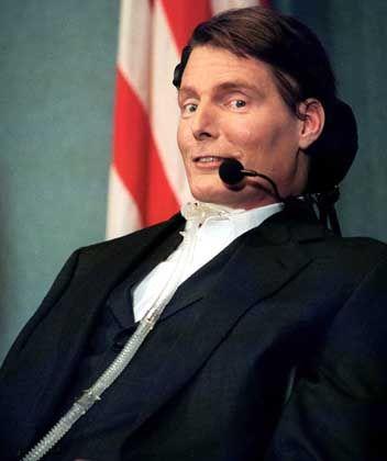 """Hollywood-Star Christopher Reeve (im Dezember 1999): """"Lassen Sie uns weiterhin Risiken eingehen"""""""
