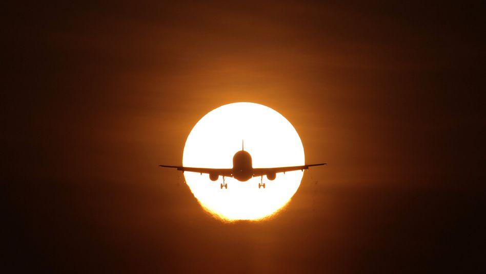 Landendes Flugzeug am Abendhimmel: Flughafenanwohner erkranken häufiger am Herzen