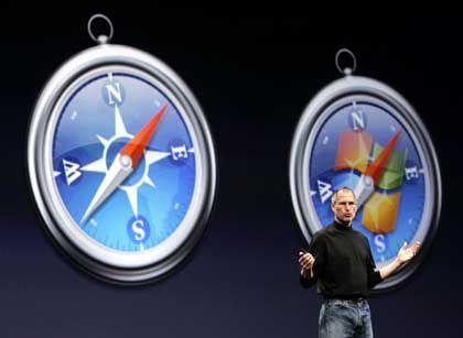Apple-Chef Steve Jobs: Mit dem Apple-Browser Safari doppelt so schnell auf Windows surfen