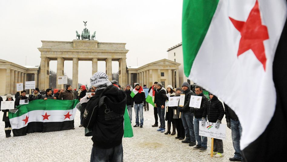 Protesters show solidarity with Syrian rebels in Berlin on Feb. 5.