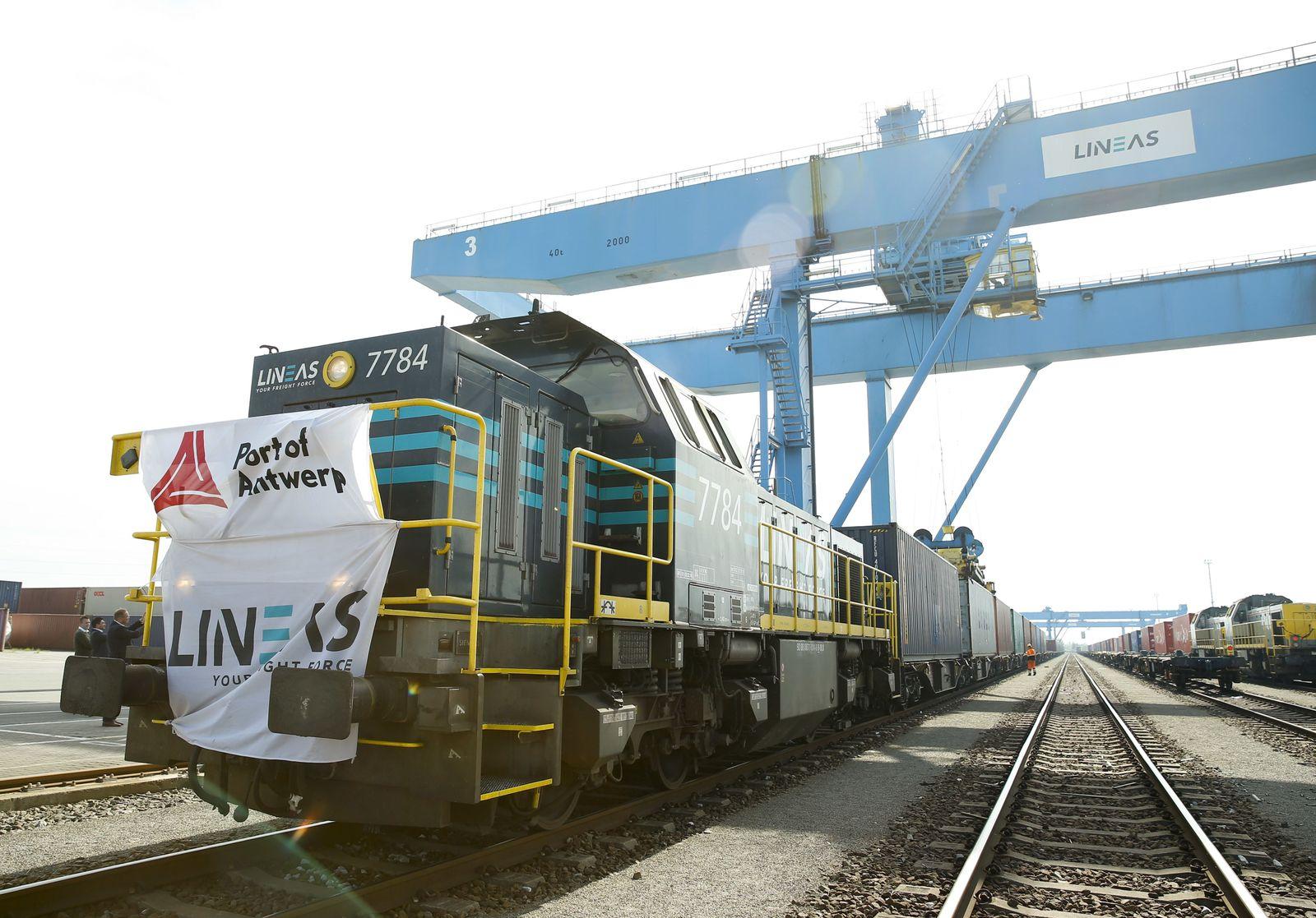 Chinesischer Güterzug kommt in Antwerpen an