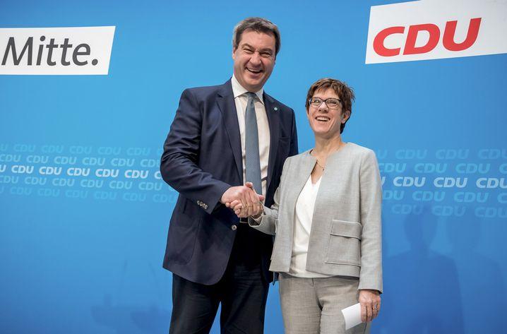 Parteichefs Kramp-Karrenbauer und Söder: Keine Kooperation, erst recht keine Koalition