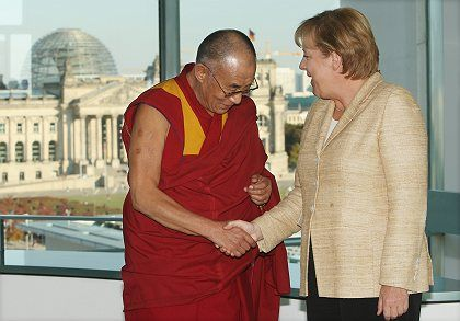 German Chancellor Angela Merkel received the Dalai Lama in Berlin on Sept. 23.